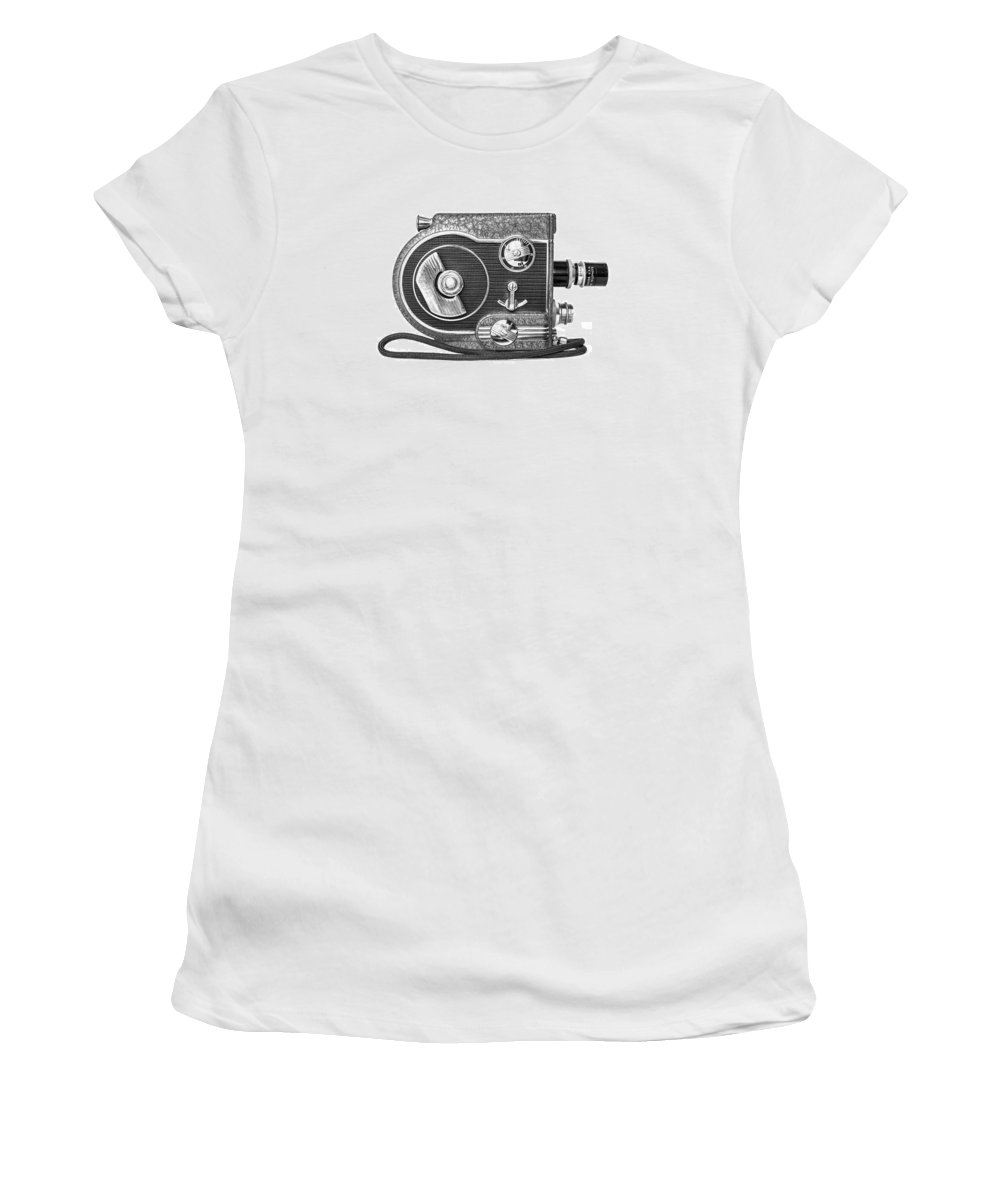 Art Deco Women's T-Shirt (Athletic Fit) featuring the photograph Revere 8 Movie Camera by Jon Woodhams