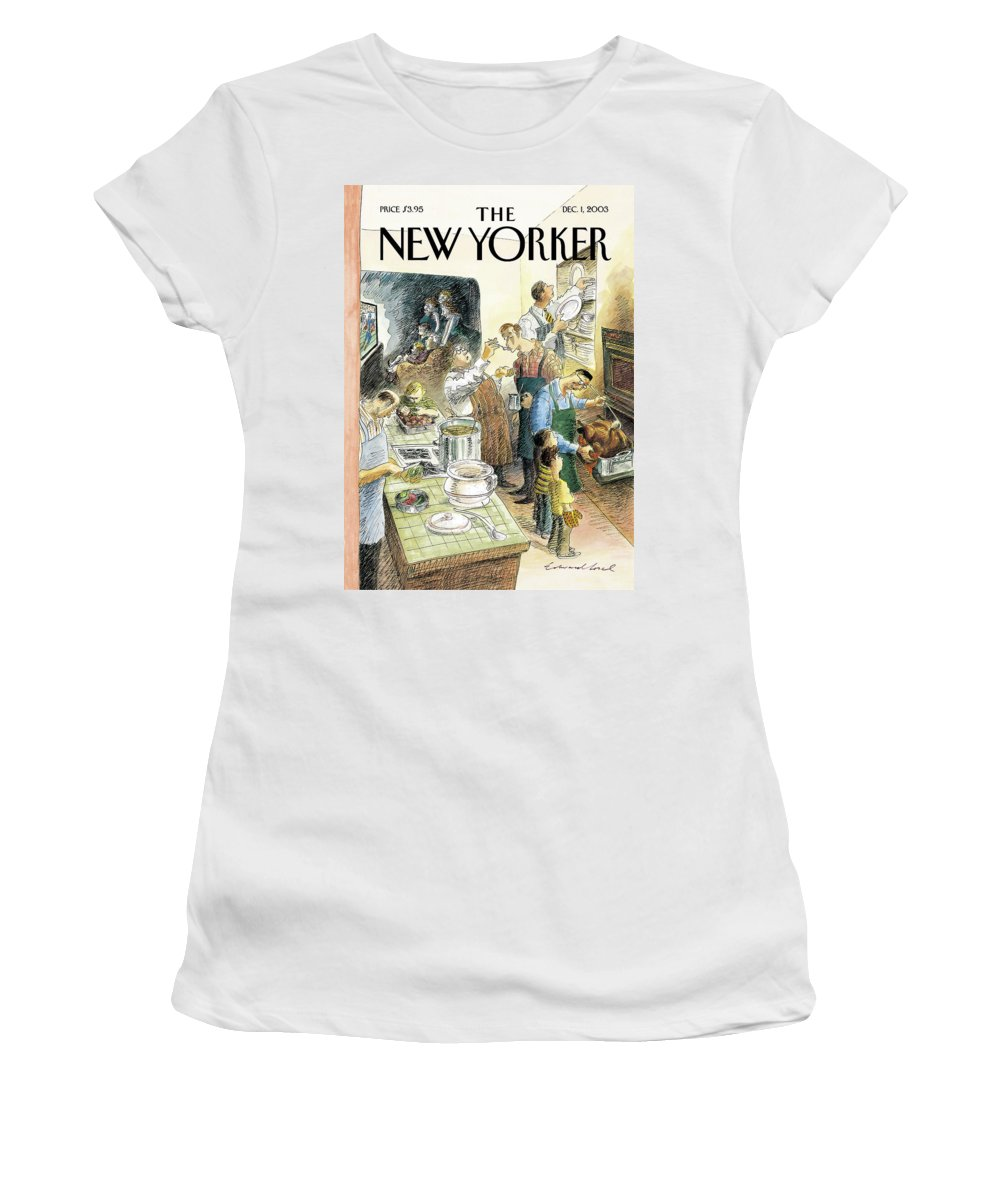 68913  Eso Edward Sorel Sports Football Holiday Holidays Thanksgiving Food Cook Cooking Dining Relationships Family Children Parents (men In Kitchen Cooking Turkey Dinner While Wives Watch Football In Living Room Male Female Gender .) Rorysone Women's T-Shirt featuring the painting Reverse Play by Edward Sorel