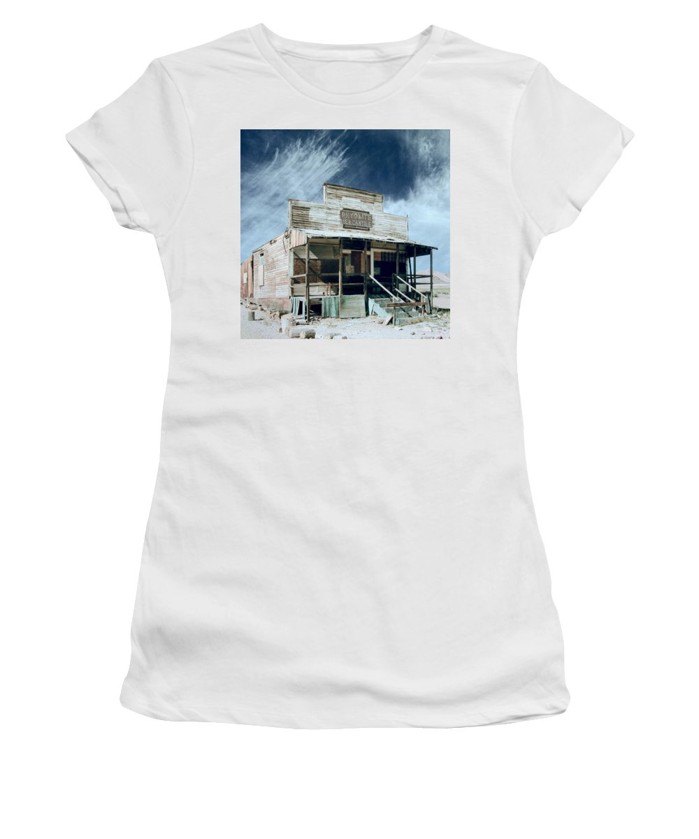 Rhyolite Women's T-Shirt (Athletic Fit) featuring the photograph Rhyolite Mercantile by Dominic Piperata