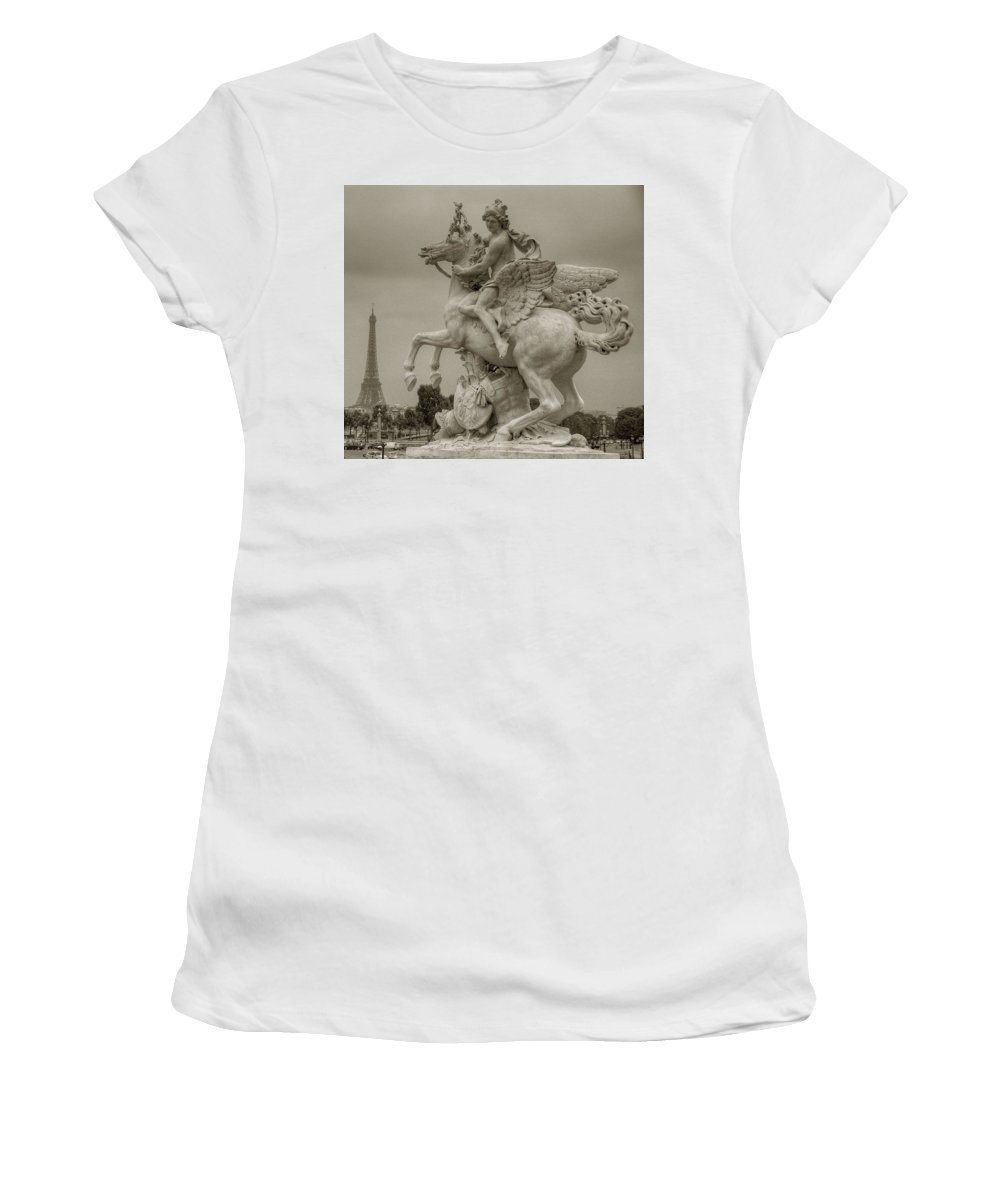 Paris Women's T-Shirt (Athletic Fit) featuring the photograph Riding Pegasis by Michael Kirk