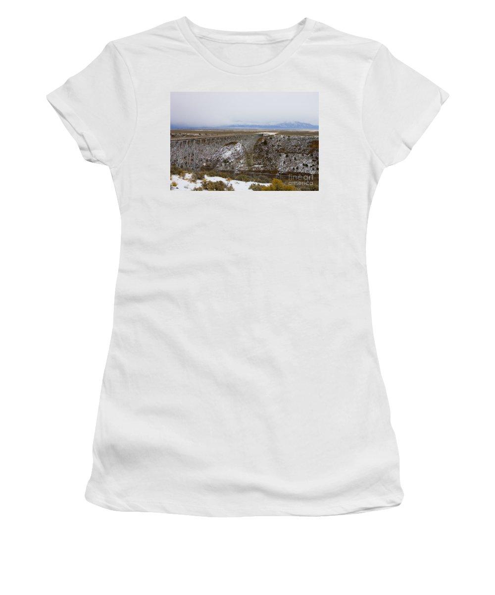 Rio Grande River Gorge Bridge Women's T-Shirt (Athletic Fit) featuring the photograph Rio Grande River Gorge Bridge by Jason O Watson