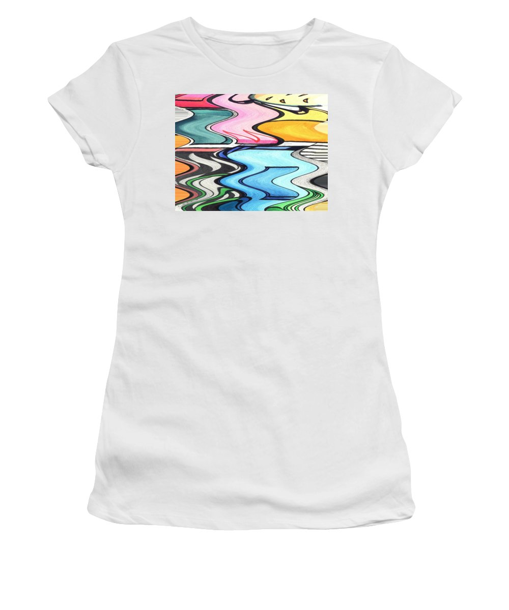 Waves Women's T-Shirt featuring the digital art Rippled by Helena Tiainen