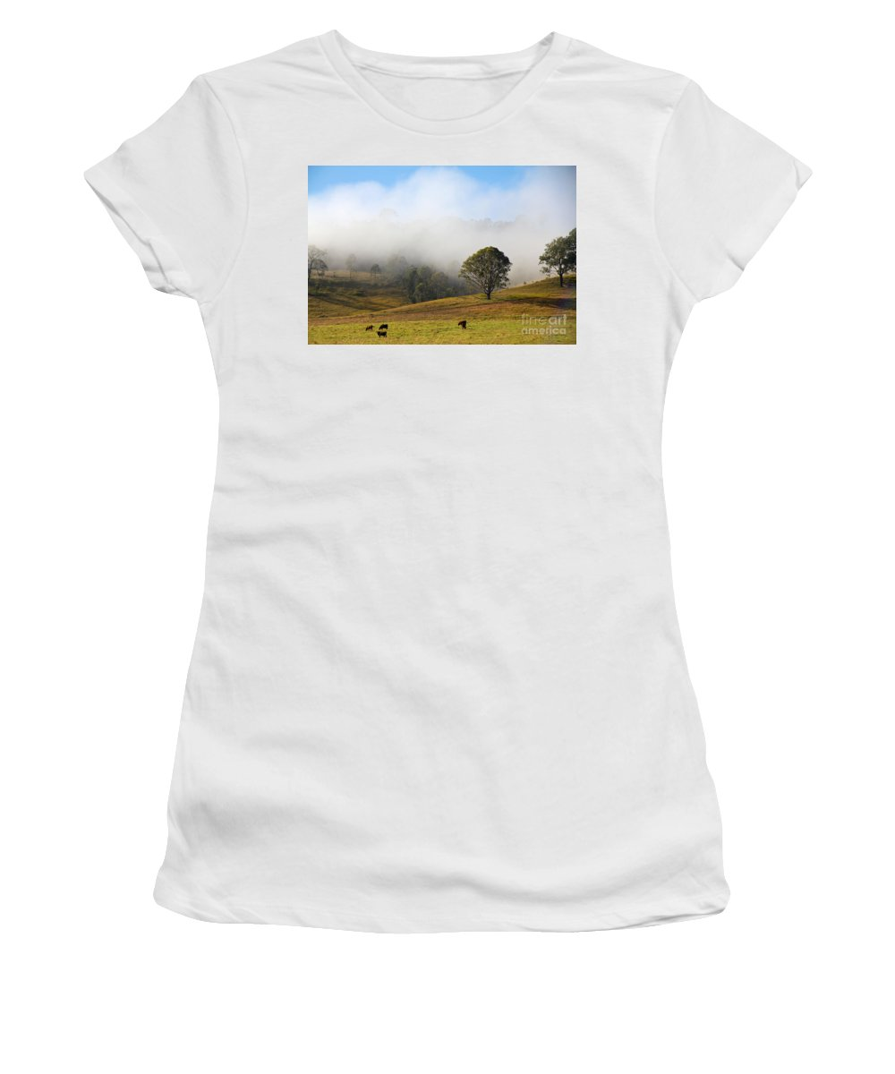 Morning Mist Women's T-Shirt featuring the photograph Rising Mist by Carole Lloyd
