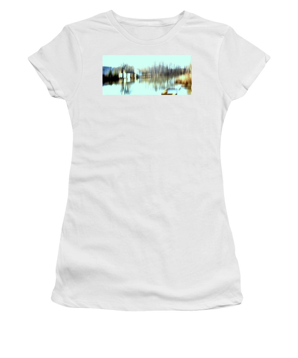 Women's T-Shirt featuring the mixed media River Mill 2 by Terence Morrissey