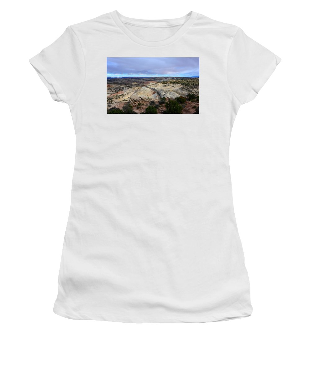 Road Women's T-Shirt (Athletic Fit) featuring the photograph Road Over Slick Rock by David Lee Thompson