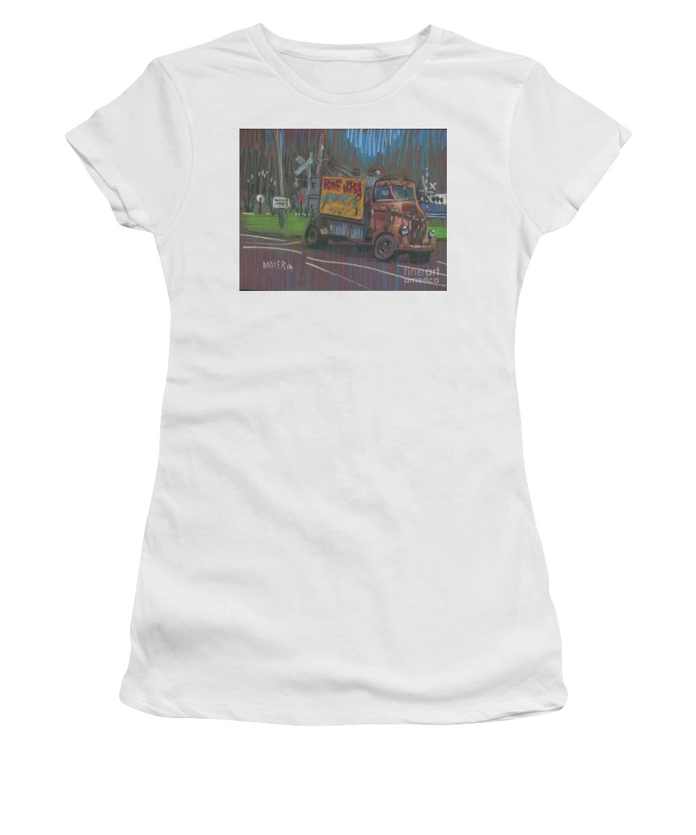 Advertising Women's T-Shirt (Athletic Fit) featuring the painting Roadside Advertising by Donald Maier