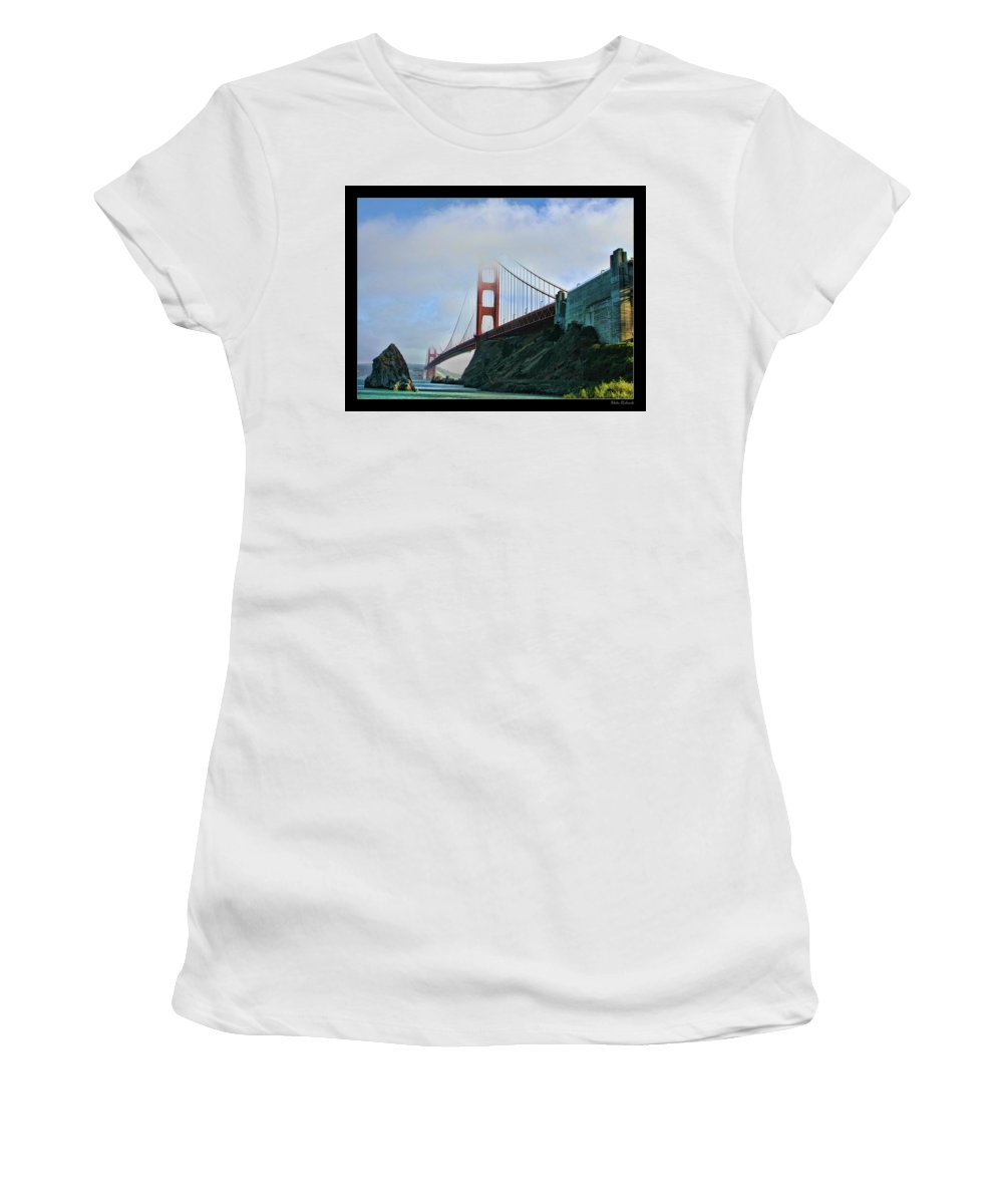 San Francisco Women's T-Shirt (Athletic Fit) featuring the photograph Rock And Golden Gate by Blake Richards