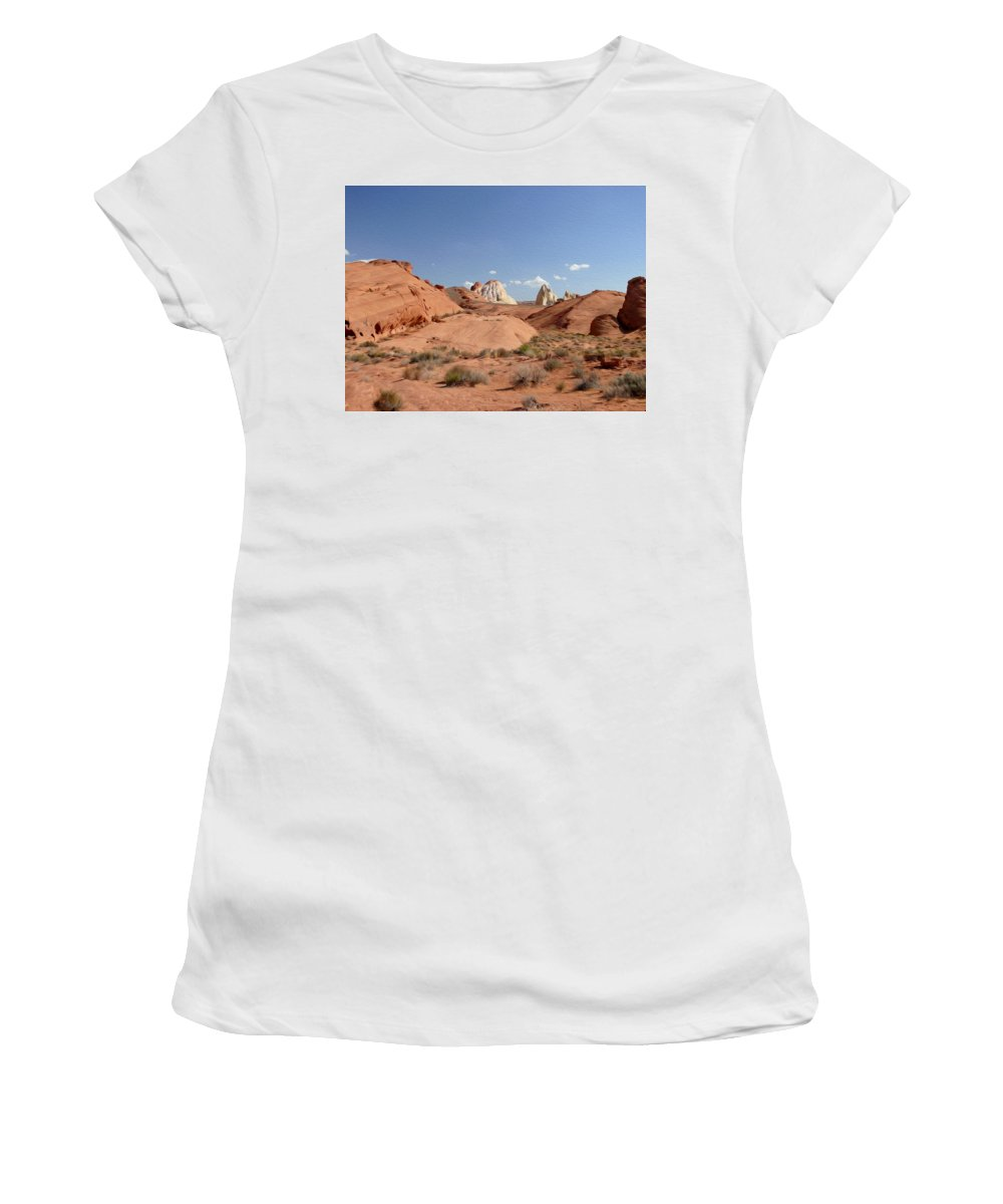 Valley Of Fire State Park Women's T-Shirt (Athletic Fit) featuring the photograph Rock Formations by Tracy Winter