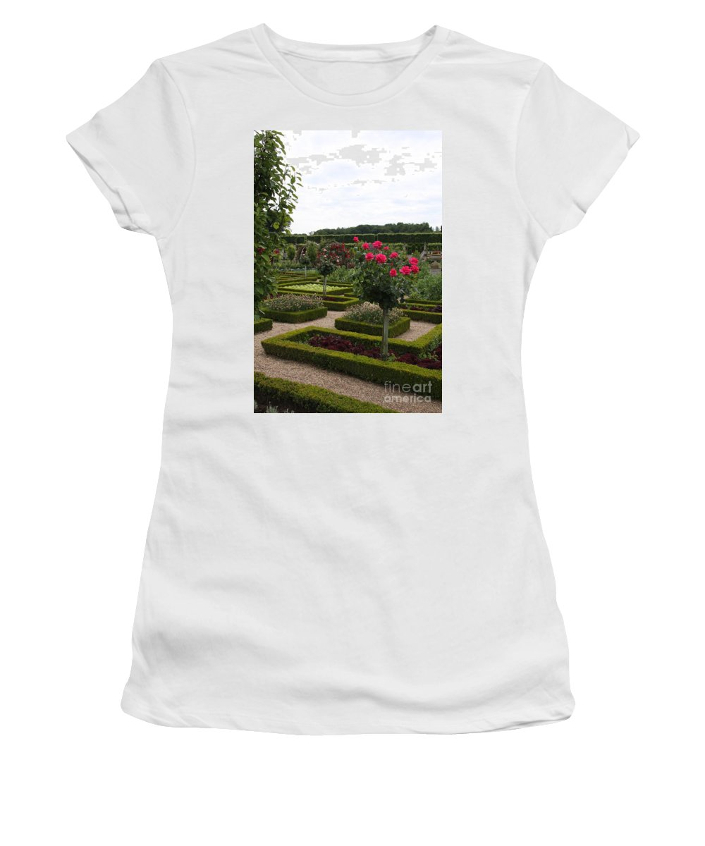 Roses Women's T-Shirt featuring the photograph Roses And Cabbage - Chateau Villandry by Christiane Schulze Art And Photography