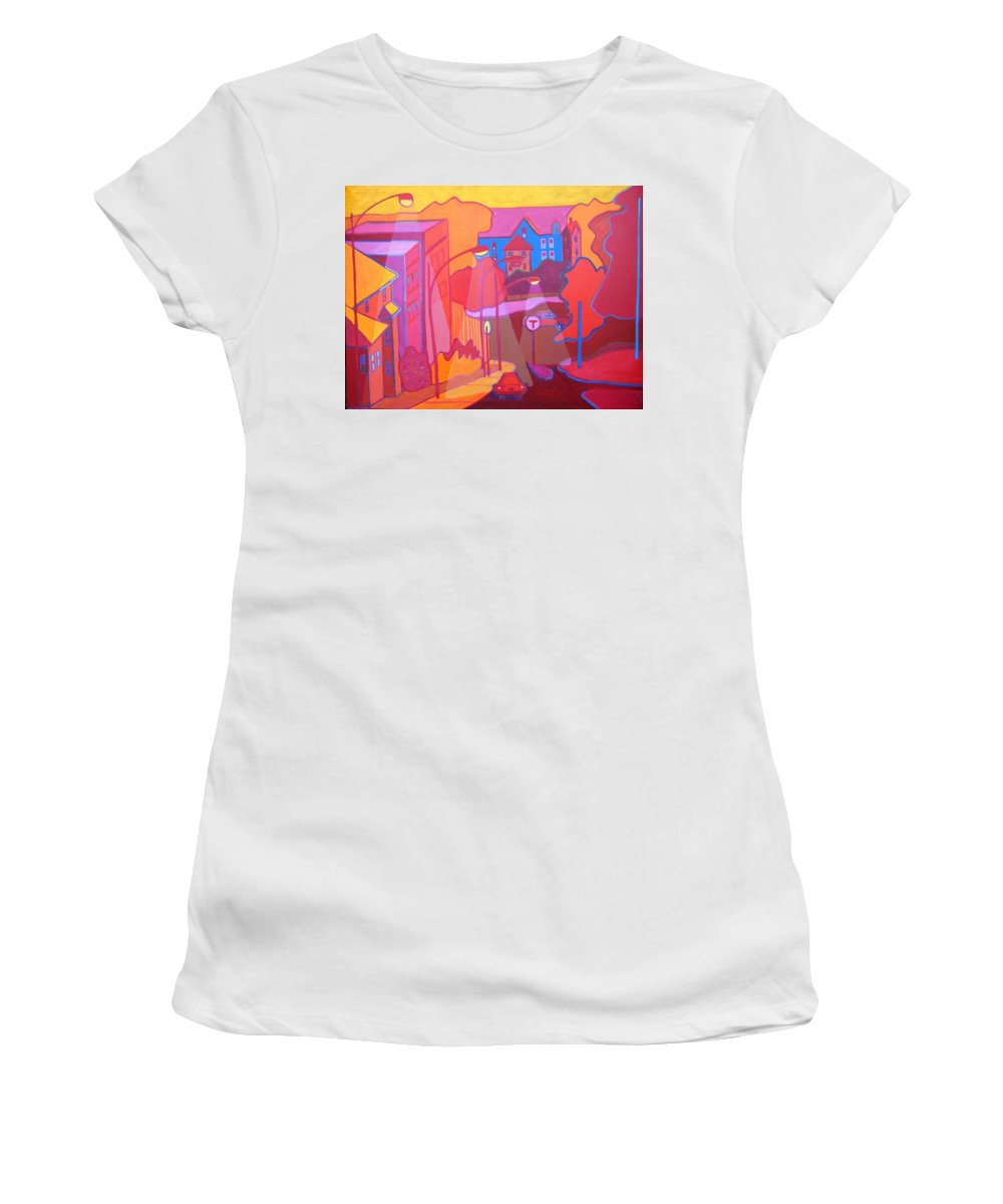 Cityscape Women's T-Shirt featuring the painting Roslindale Never Looked so Red by Debra Bretton Robinson