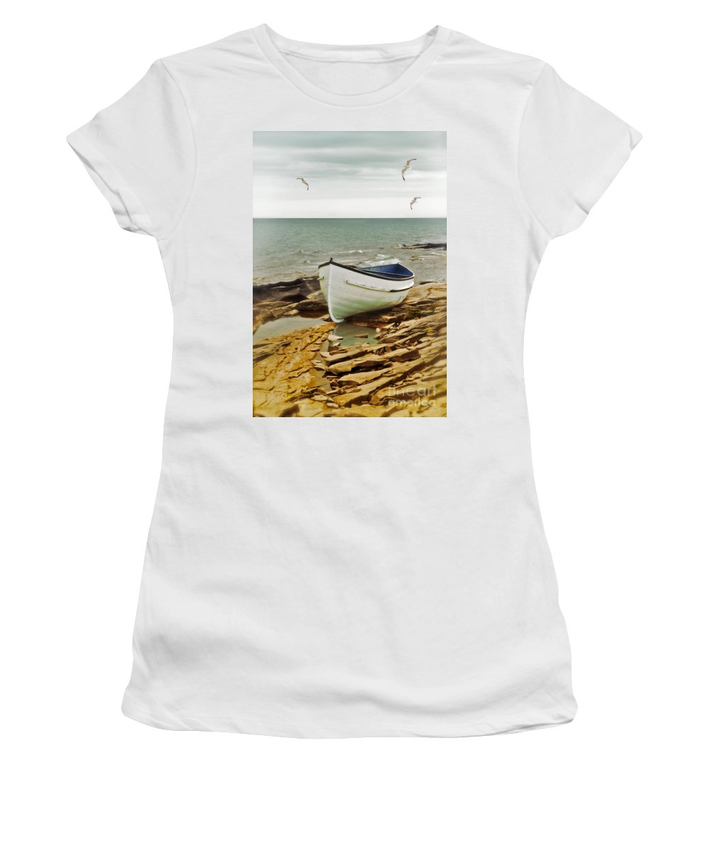 Boat Women's T-Shirt featuring the photograph Row Boat On Rocky Shore by Jill Battaglia