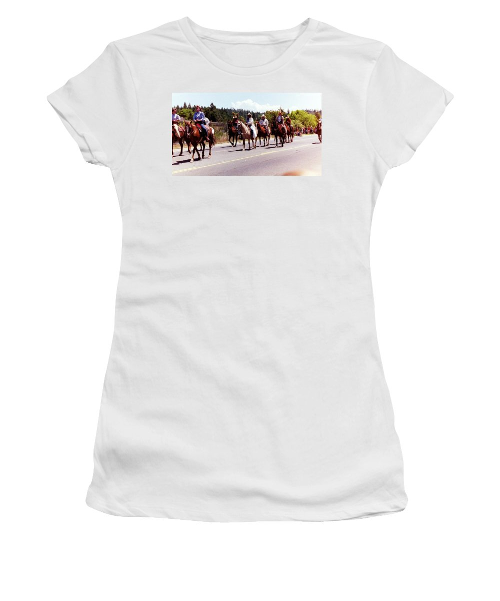 Horses Women's T-Shirt featuring the photograph Row Of Horses by Karl Rose