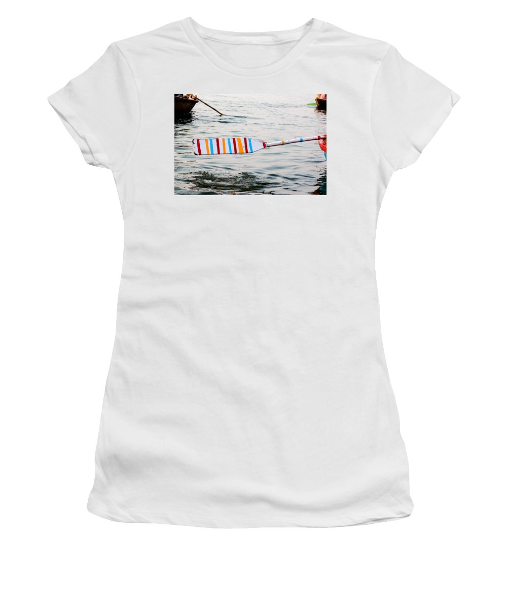 Row Women's T-Shirt (Athletic Fit) featuring the photograph Rowing Oar by Gaurav Singh
