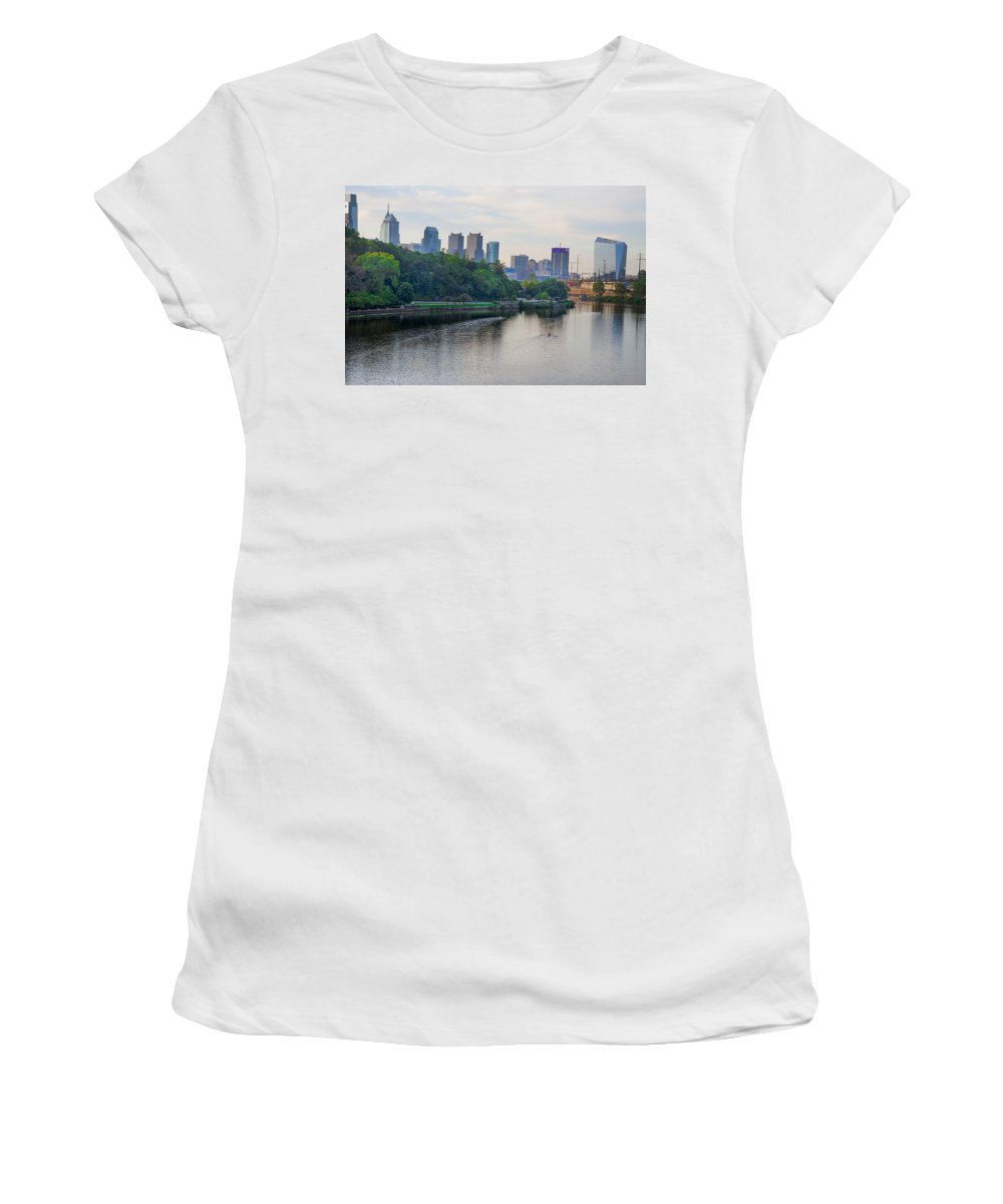 Rowing Women's T-Shirt (Athletic Fit) featuring the photograph Rowing On The Schuylkill Riverwith Philadelphia Cityscape In Vie by Bill Cannon