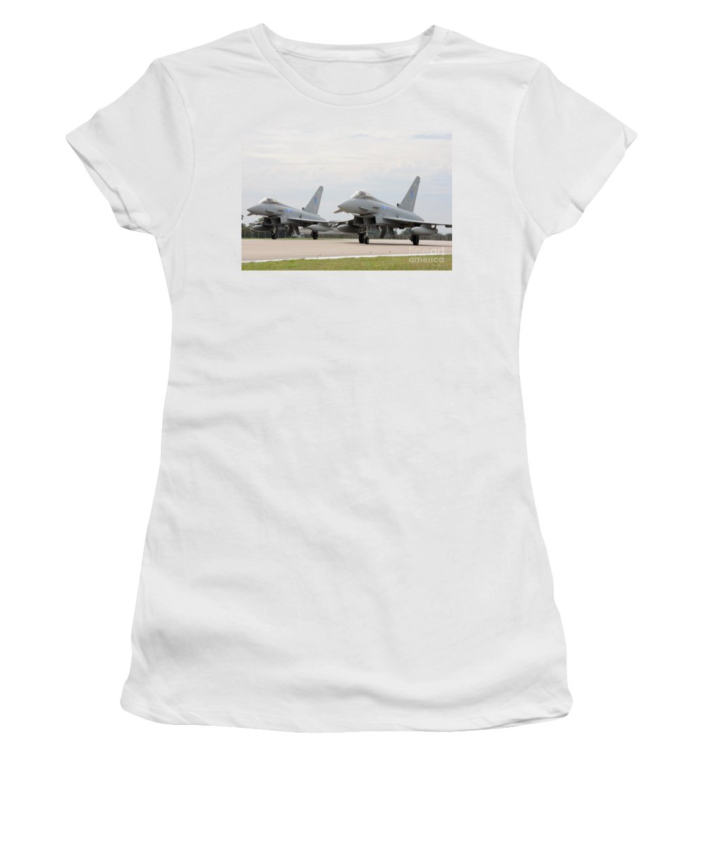 Raf Women's T-Shirt featuring the photograph Royal Air Force Typhoon Aircraft by Paul Fearn