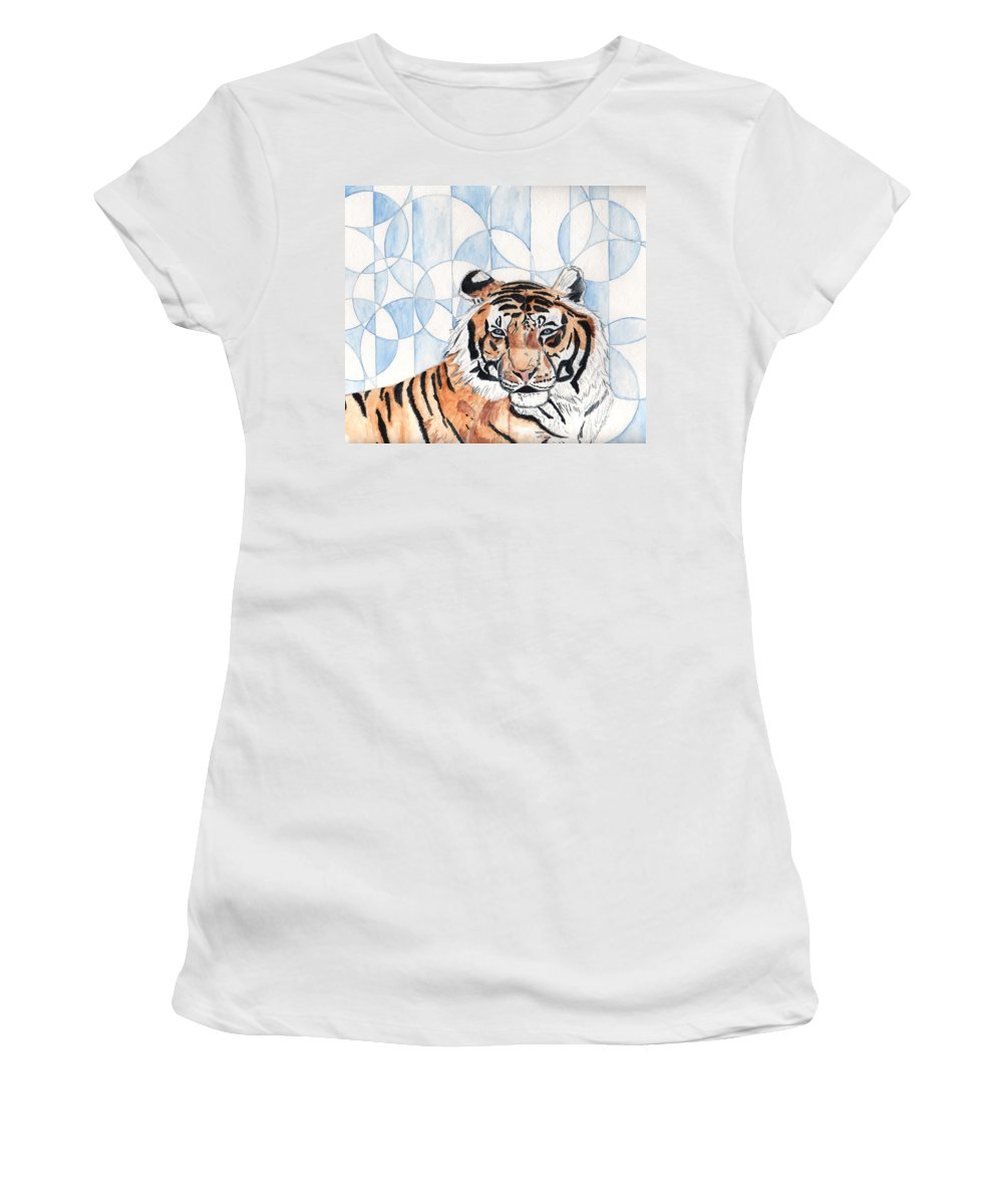 Tiger Women's T-Shirt (Athletic Fit) featuring the painting Royal Mysticism by Crystal Hubbard