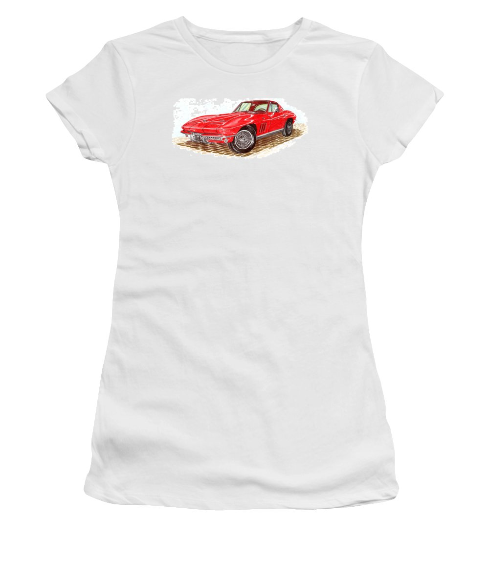 Red 1966 Corvette Stingray Fastback Women's T-Shirt (Athletic Fit) featuring the drawing Ruby Red 1966 Corvette Stingray Fastback by Jack Pumphrey