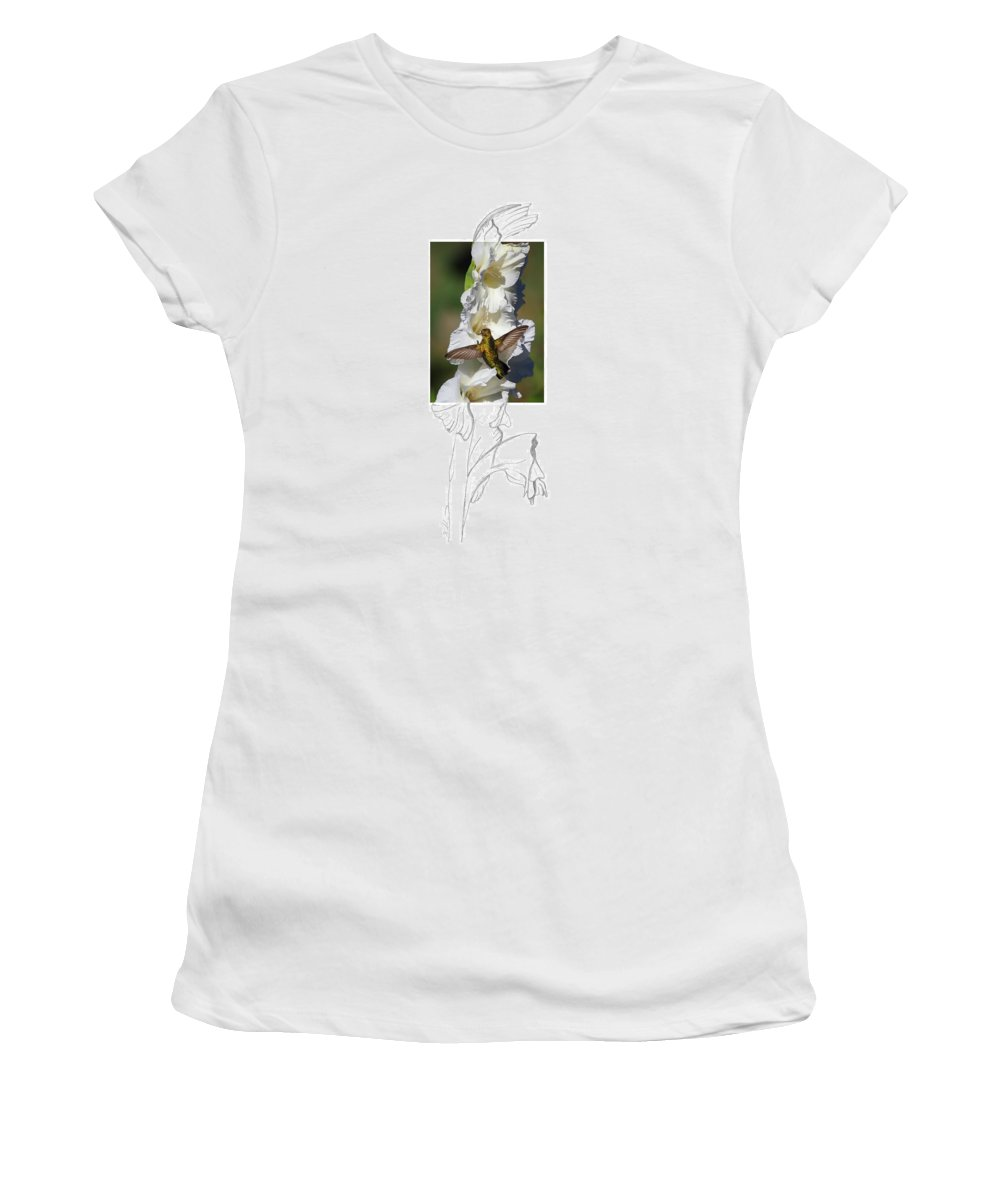 Ruby-throated Hummingbird Women's T-Shirt featuring the photograph Ruby-throated Hummingbird 2am-104192 by Andrew McInnes