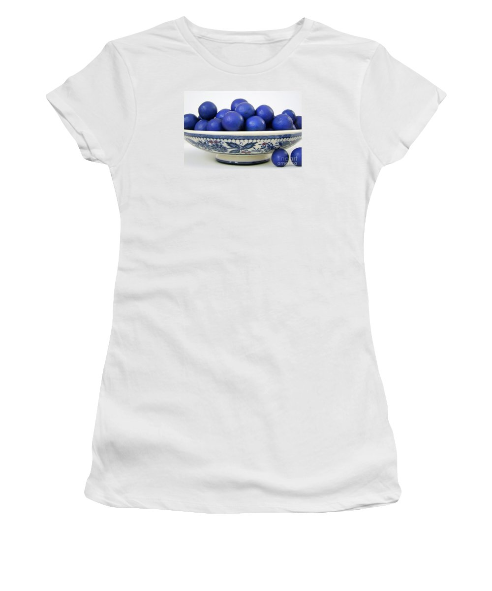 Seedpods Women's T-Shirt (Athletic Fit) featuring the photograph Rudraksha Tree Seeds In Vintage Dish by Mary Deal
