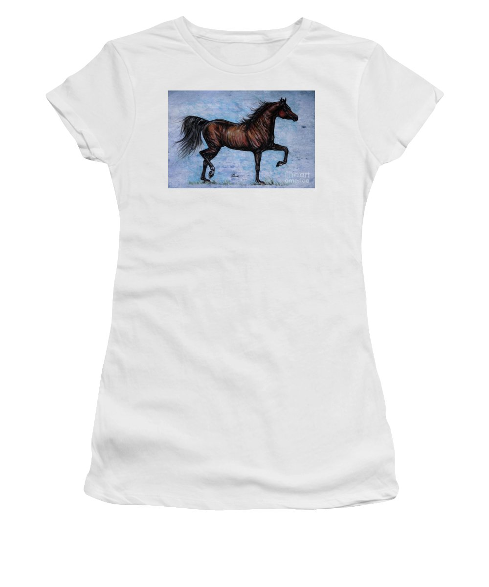 Horse Women's T-Shirt (Athletic Fit) featuring the painting Running In The Blue by Angel Ciesniarska