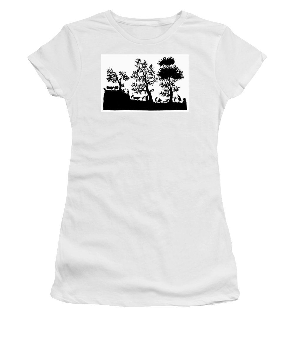 19th Century Women's T-Shirt (Athletic Fit) featuring the painting Rural Scene by Granger