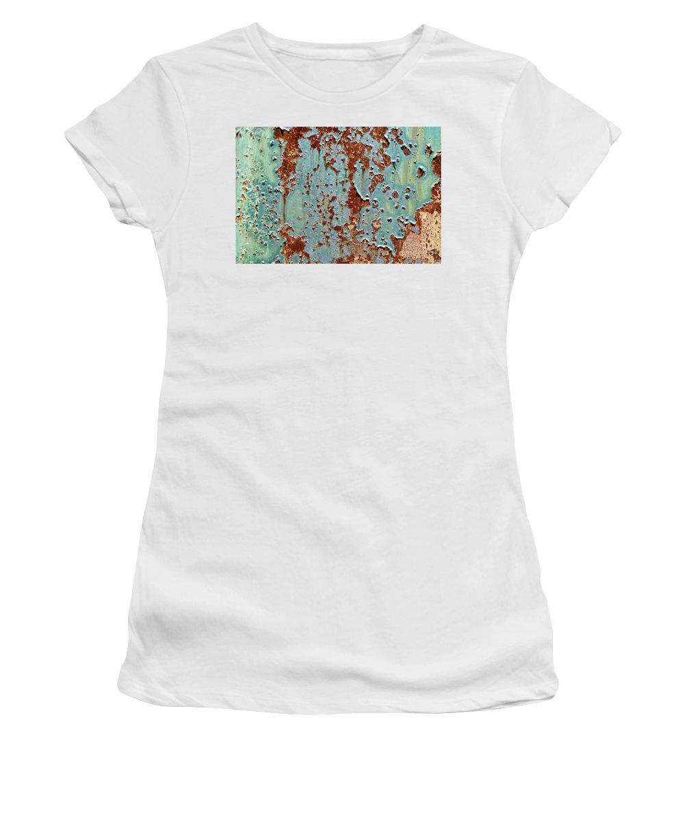 Rust Women's T-Shirt (Athletic Fit) featuring the photograph Rust And Paint by Olivier Le Queinec