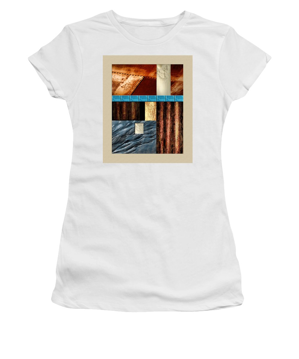 Geometric Abstract Man+made Textures Metal Metallic Collage Steel Rust Rusty Rivets Tiles Tree+branch Corrugated Lava Rock Jellyfish Women's T-Shirt (Athletic Fit) featuring the painting Rust And Rocks Rectangles by Elaine Plesser
