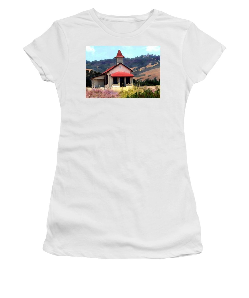 Architecture School School+house Building Field Rural Rustic Fields Mountain San+simeon California Hearst+castle Hills Women's T-Shirt (Athletic Fit) featuring the painting Rustic Old Schoolhouse Near San Simeon California by Elaine Plesser