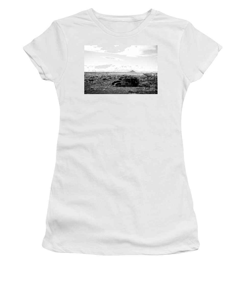 Old Car Women's T-Shirt (Athletic Fit) featuring the photograph Rusty Car 3 - Black And White by Scott Sawyer