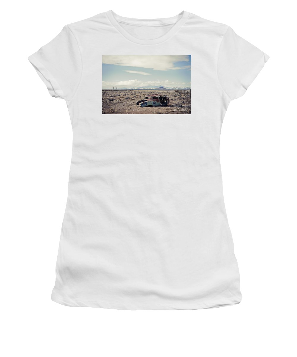 Rusty Car Women's T-Shirt (Athletic Fit) featuring the photograph Rusty Car In Plain by Scott Sawyer