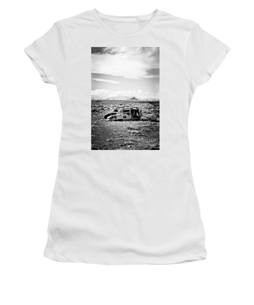 Old Car Women's T-Shirt featuring the photograph Rusty Car In Snow 1 by Scott Sawyer