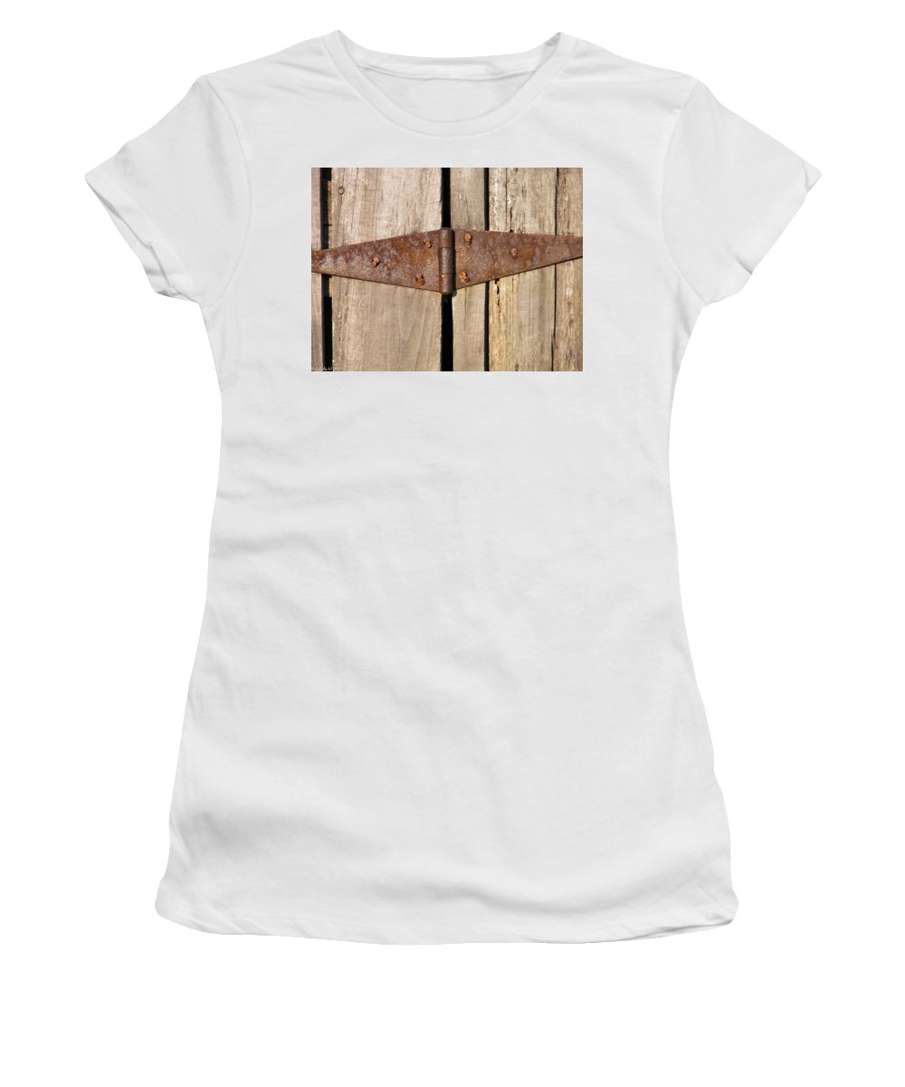 Barn Women's T-Shirt (Athletic Fit) featuring the photograph Rusty Hinge by Nick Kirby