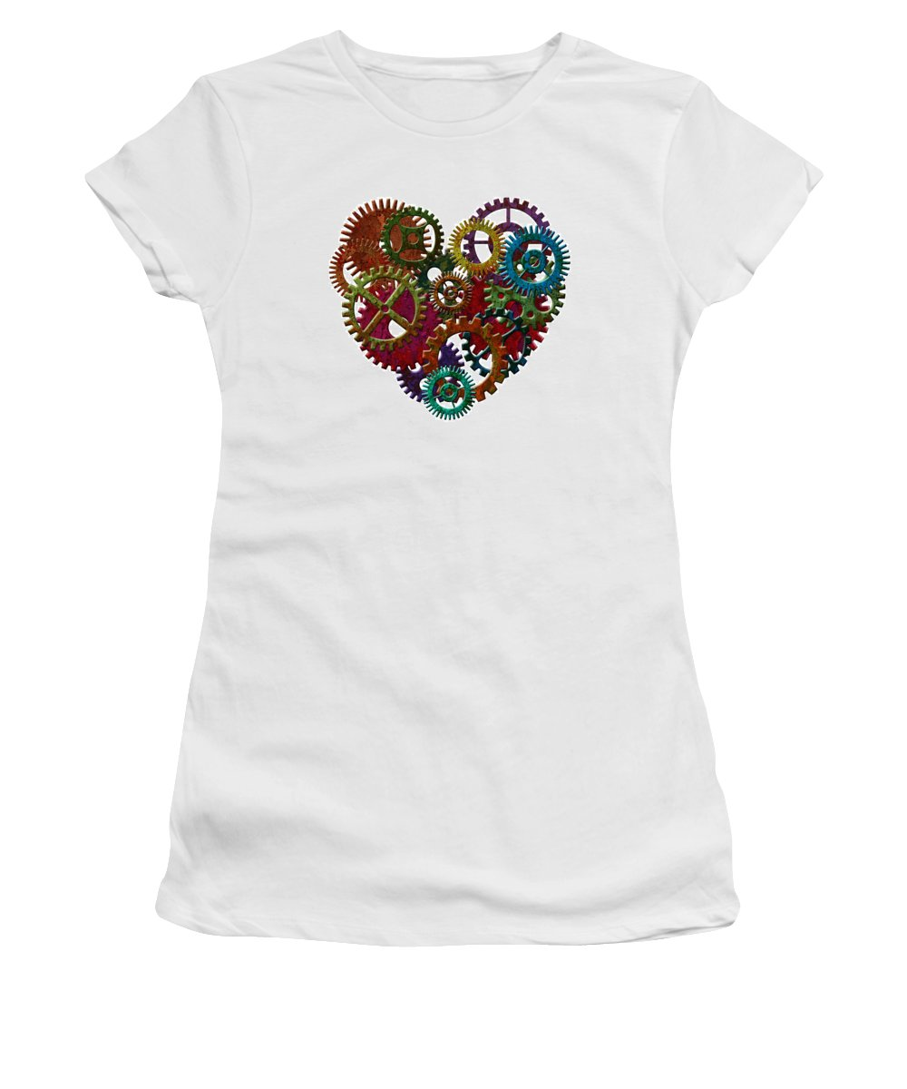 Heart Women's T-Shirt featuring the photograph Rusty Metal Gears Forming Heart Shape Illustration by Jit Lim