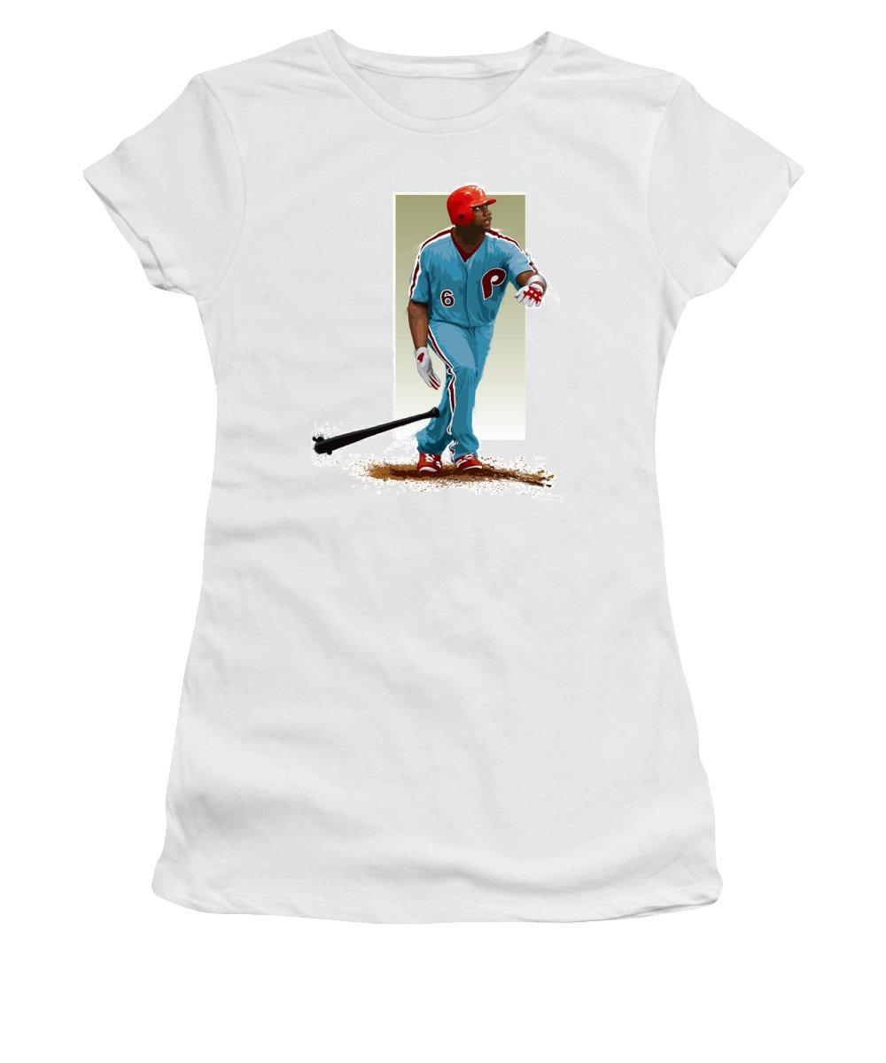 Ryan Howard Women's T-Shirt (Athletic Fit) featuring the digital art Ryan Howard by Scott Weigner