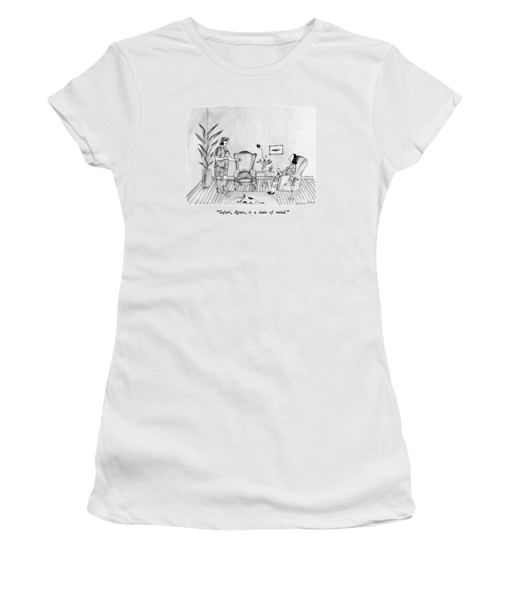 Travel Women's T-Shirt (Athletic Fit) featuring the drawing Safari, Agnes, Is A State Of Mind by Victoria Roberts