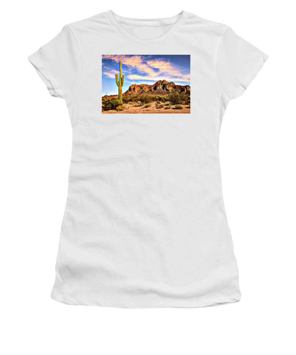 Apache Women's T-Shirt featuring the photograph Saguaro Superstition Mountains Arizona by Bob and Nadine Johnston