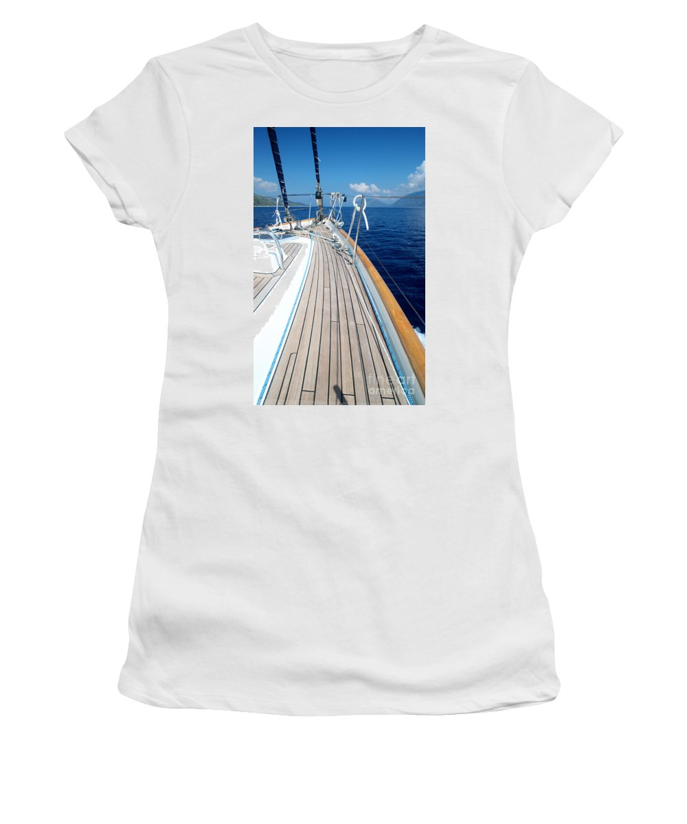 Sail Women's T-Shirt (Athletic Fit) featuring the photograph Sail Away by Linda Arnado