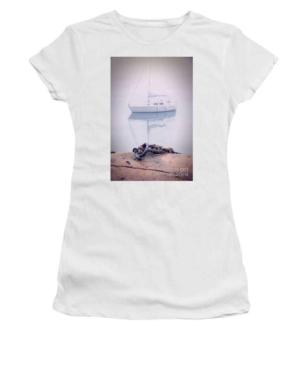 Boat Women's T-Shirt featuring the photograph Sailboat In Fog by Jill Battaglia