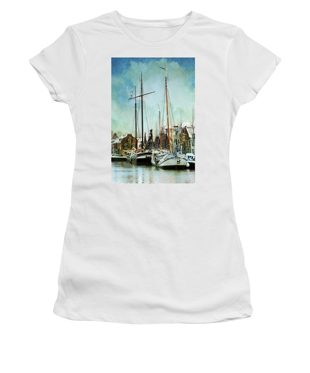 Sailboat Women's T-Shirt (Athletic Fit) featuring the photograph Sailboats by Annie Snel