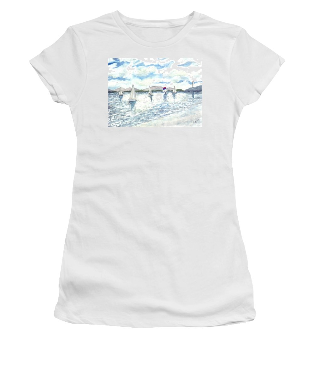 Sailboats Women's T-Shirt featuring the painting Sailboats by Derek Mccrea