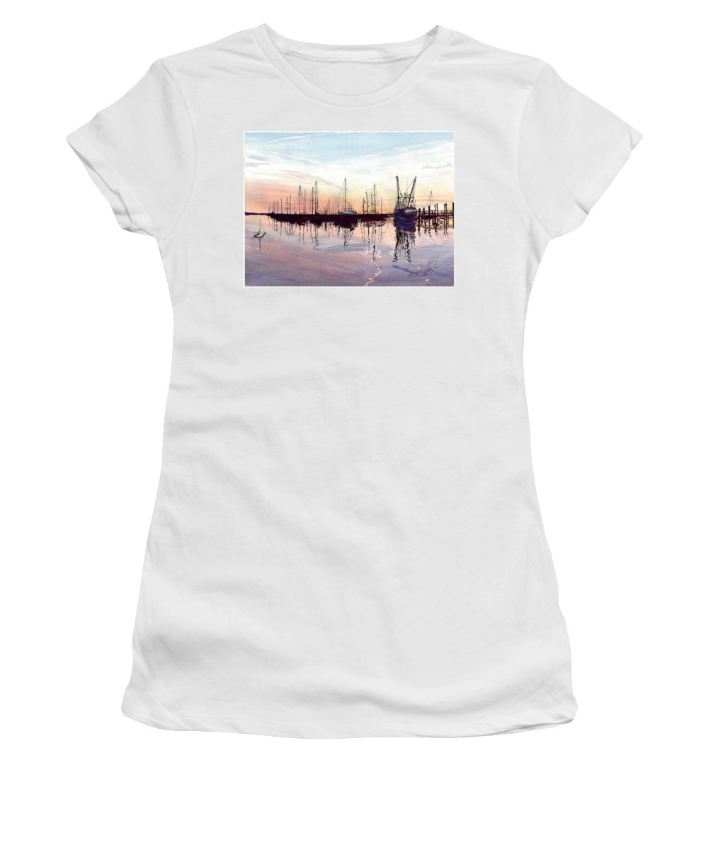 Fiery Sunset Women's T-Shirt (Athletic Fit) featuring the painting Saint Marys Marina  Shadows Light And Fire by Joel Deutsch