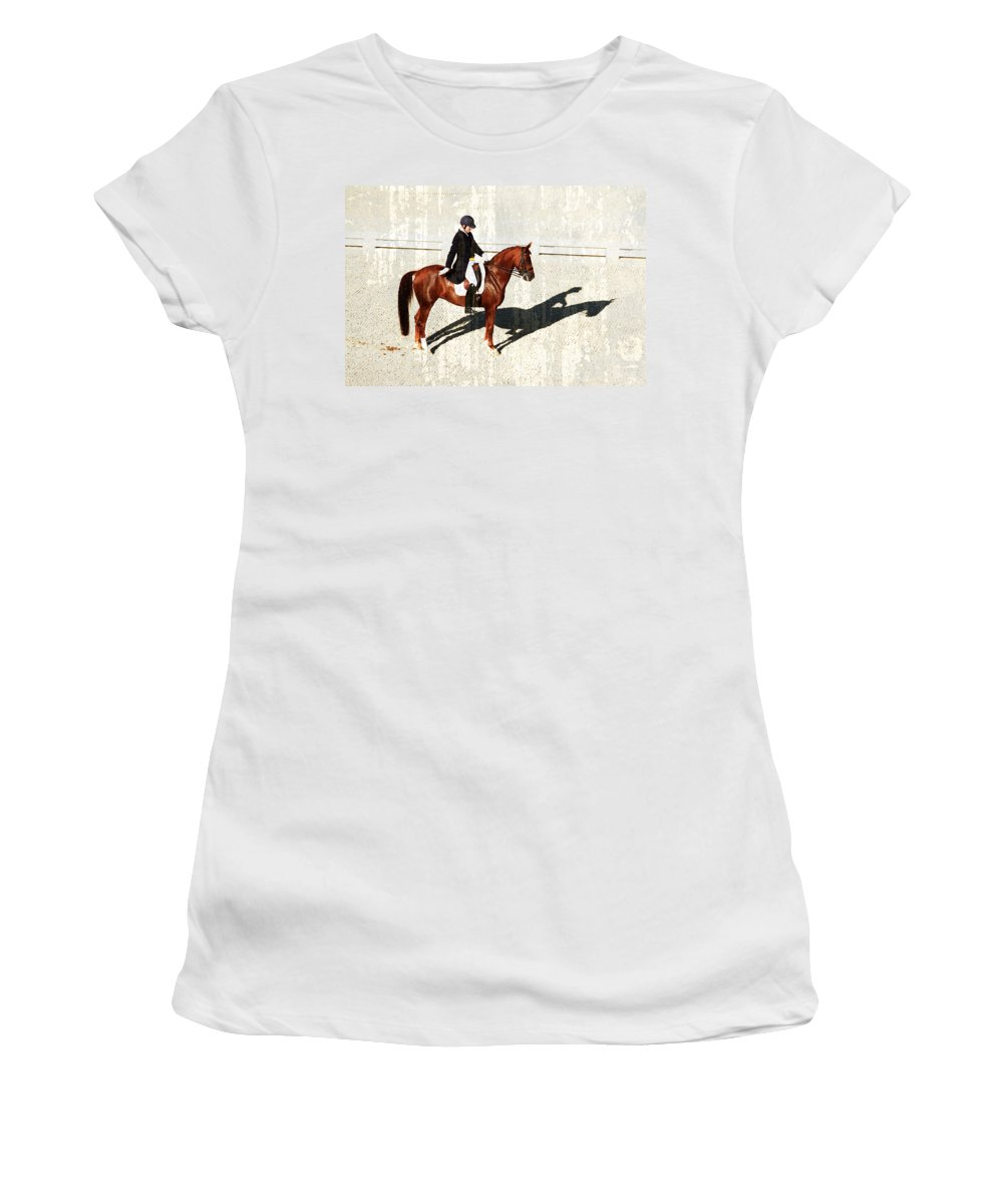 Dressage Women's T-Shirt featuring the photograph Salute by Alice Gipson