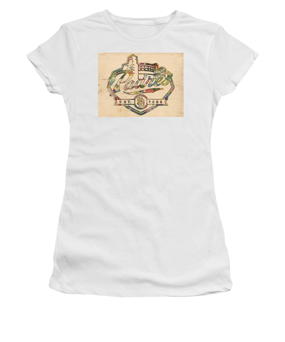 San Diego Padres Women's T-Shirt featuring the painting San Diego Padres Memorabilia by Florian Rodarte