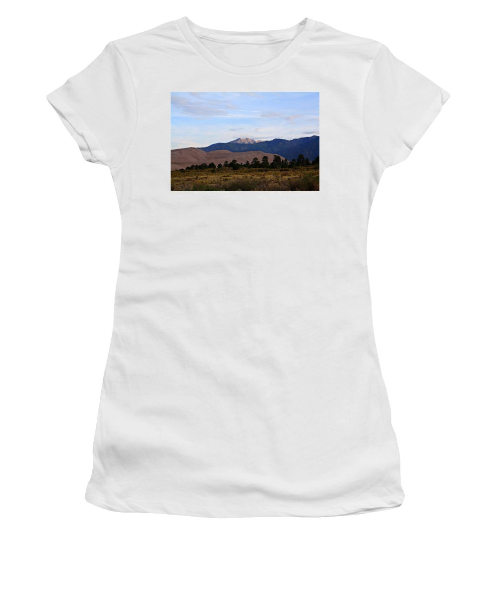 Sand Women's T-Shirt (Athletic Fit) featuring the photograph Sand Dune Sunrise by Marcelo Albuquerque