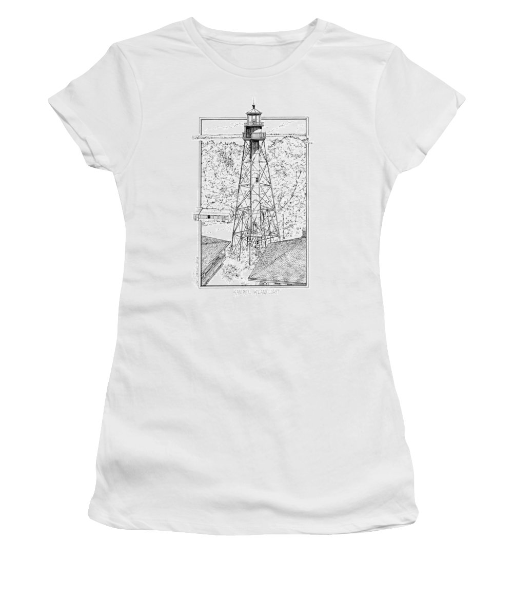 Sanibel Island Lighthouse Women's T-Shirt (Athletic Fit) featuring the drawing Sanibel Island Light by Ira Shander