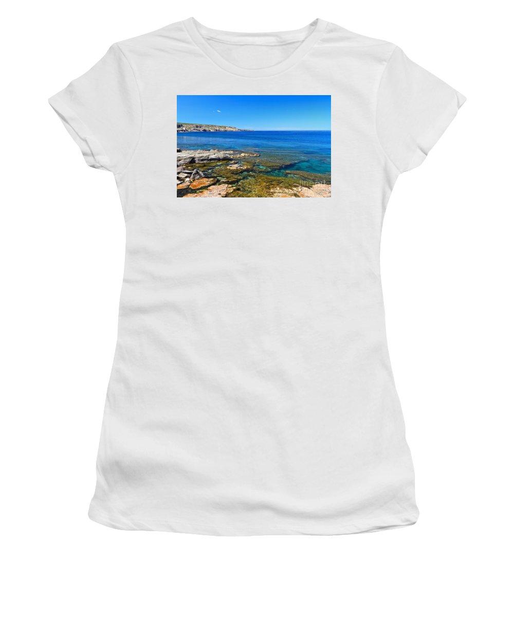 Sardinia Women's T-Shirt (Athletic Fit) featuring the photograph Sardinia - Shore In San Pietro Island by Antonio Scarpi