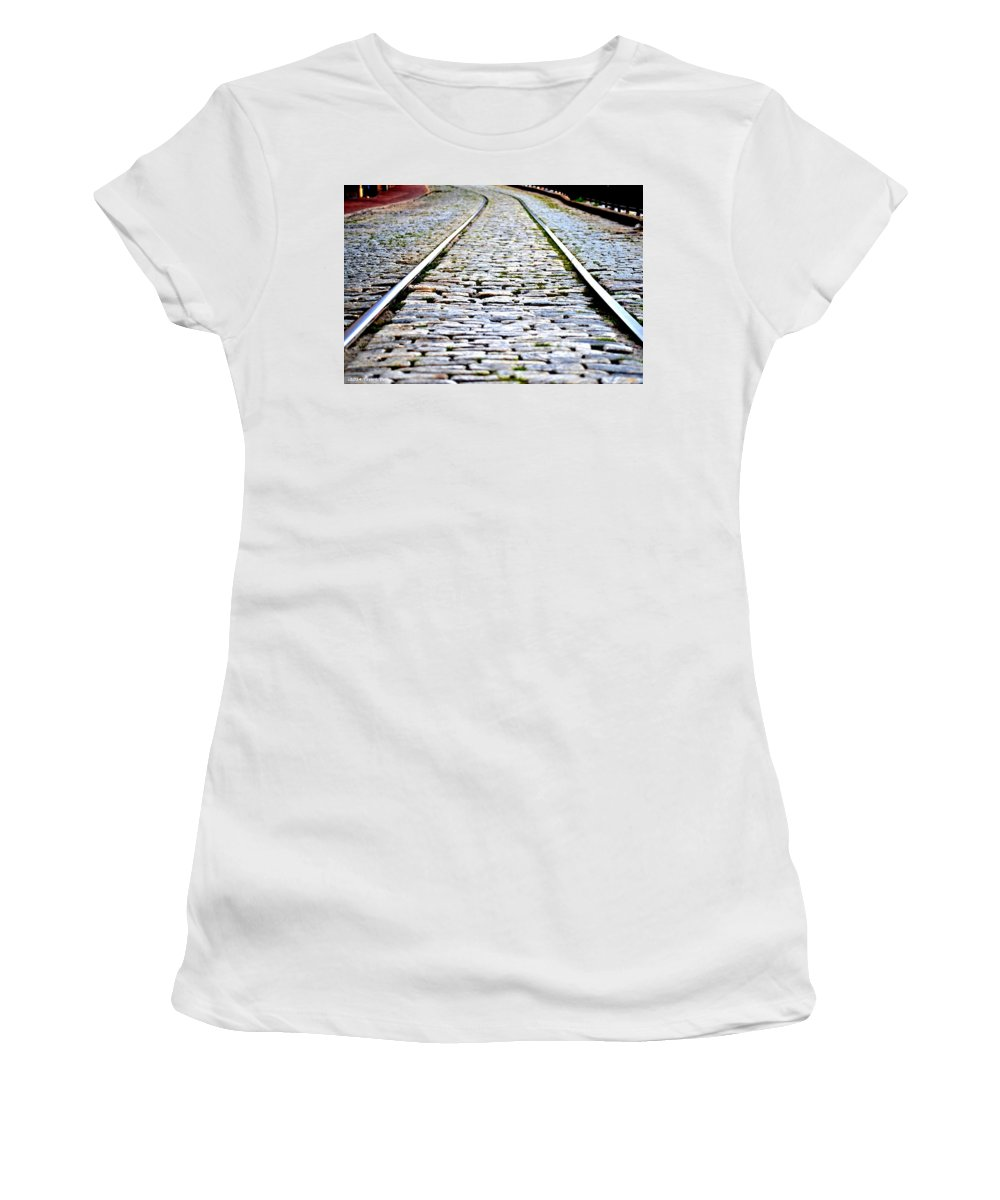 Trolley Women's T-Shirt (Athletic Fit) featuring the photograph Savannah Trolley Tracks by Tara Potts