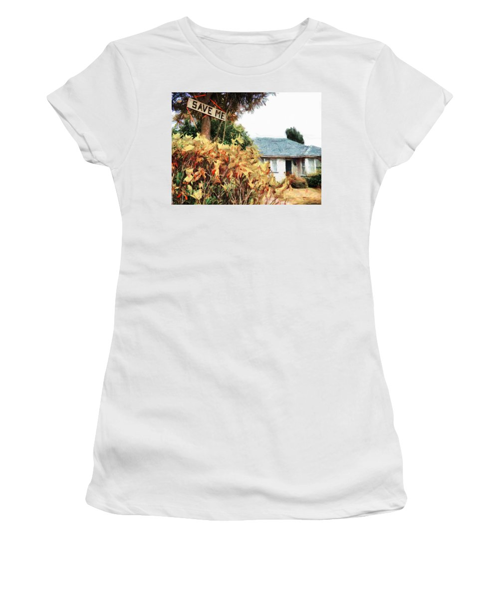 Earthquake Women's T-Shirt (Athletic Fit) featuring the digital art Save Me by Steve Taylor