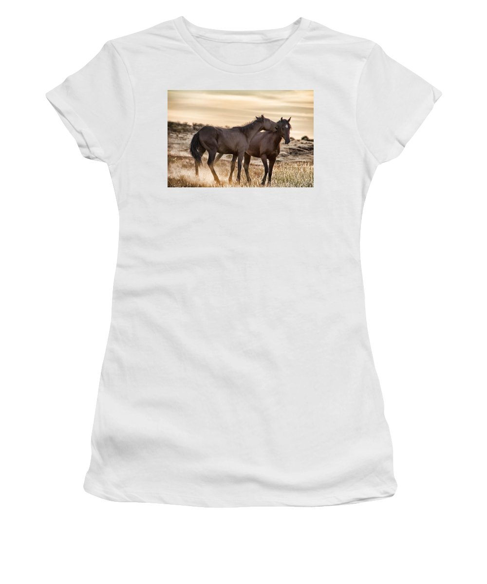 Brumbies Women's T-Shirt featuring the photograph Saying It Softly by Douglas Barnard