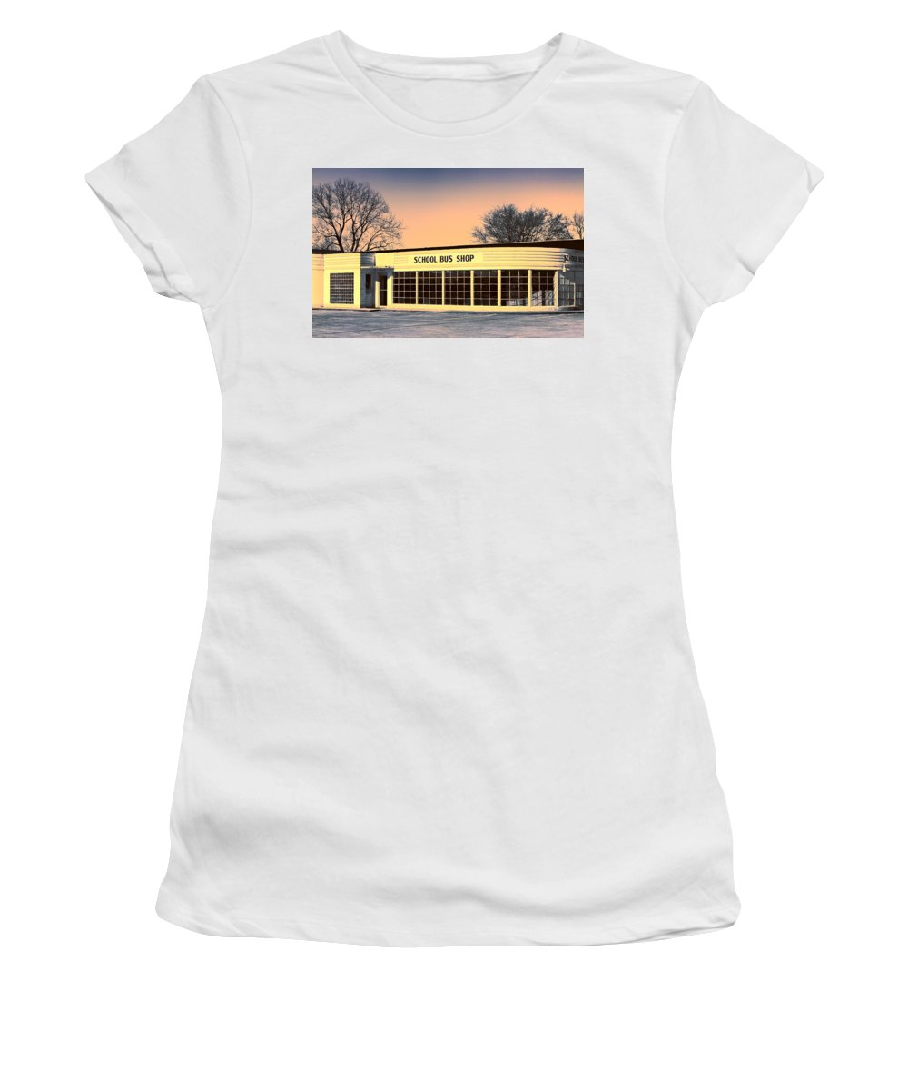 Repair Shop Women's T-Shirt (Athletic Fit) featuring the photograph School Bus Repair Shop by Dominic Piperata